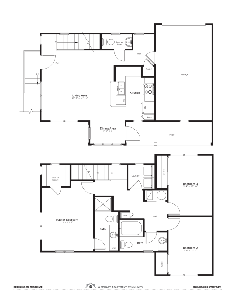 Tungsten 3 Bedroom Townhome Floor Plan